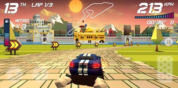 'Horizon Chase' tem comandos simples e gráficos coloridos para resgatar legado de clássicos de corrida dos consoles antigos (Foto: Divulgação/Aquiris)