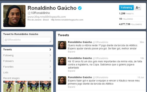 Ronaldinho deixa recado no Twitter (Foto: Reprodu&#231;&#227;o / Twitter)