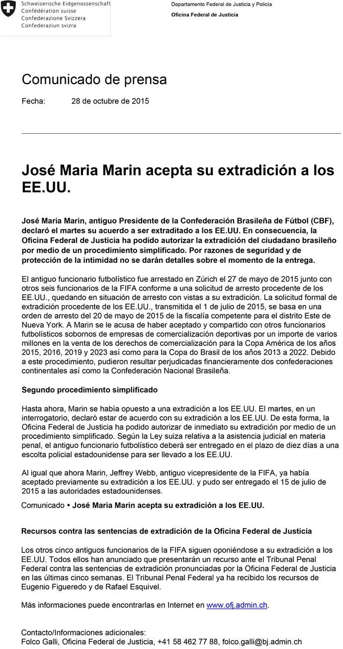 Documento extradição José Maria Marin FIFA