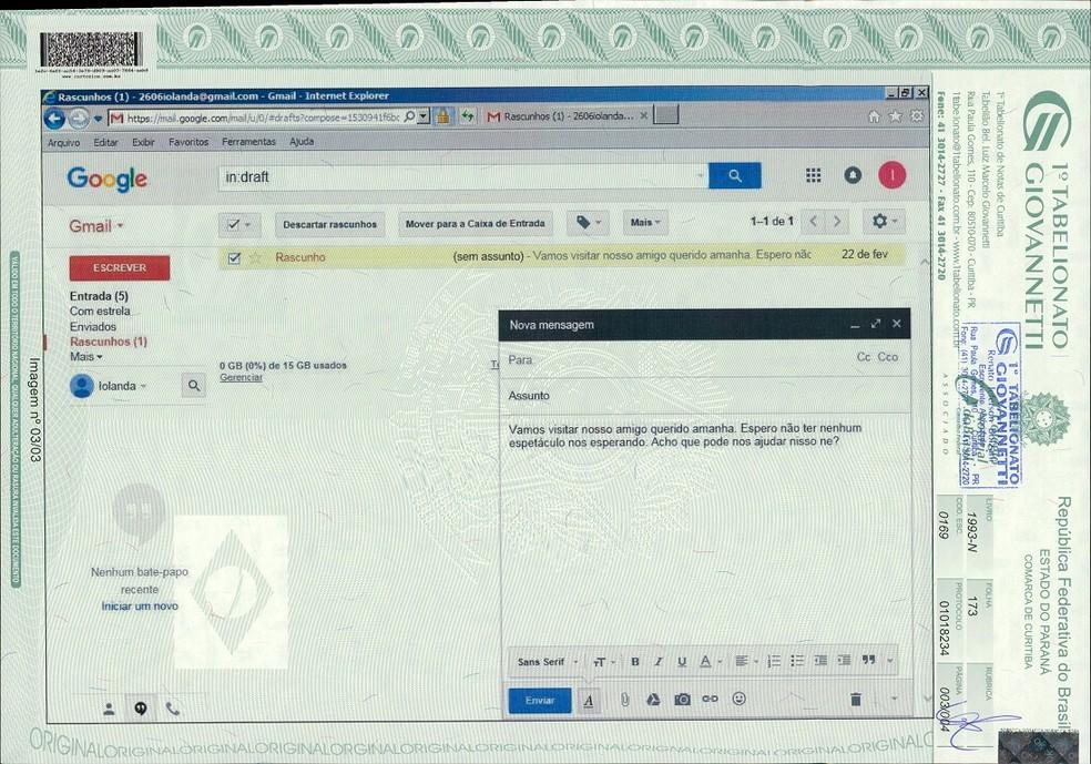 Documento registrado em cartório reproduz mensagem que teria Dilma como destinatária em conta de e-mail (Foto: Reprodução/PGR)