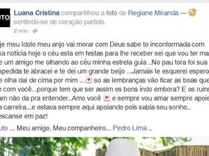 Luana lamentou a morte do cantor pelo Facebook (Foto: Reprodução/Facebook)