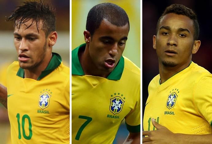 montagem Neymar, Lucas e Danilo (Foto: Montagem sobre foto da Getty Images)