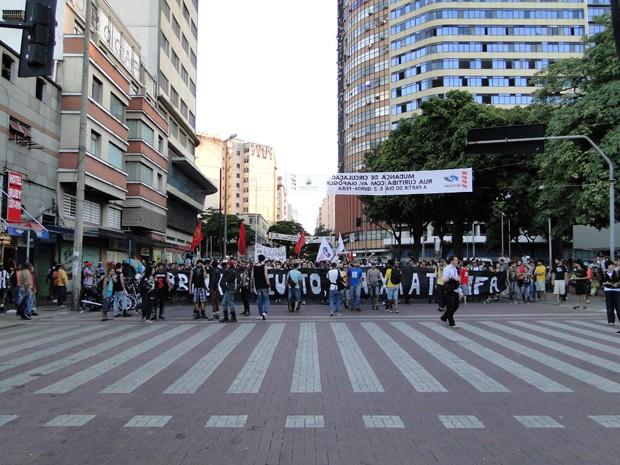 Manifestantes cobraram divulgação de auditoria do transporte em BH. (Foto: Pedro Ângelo/G1)