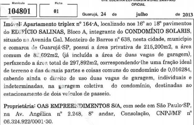 Defesa de Lula mostra detalhe do documento que mostra que apartamento com o nome da OAS Empreendimentos S/A como proprietária (Foto: Reprodução)