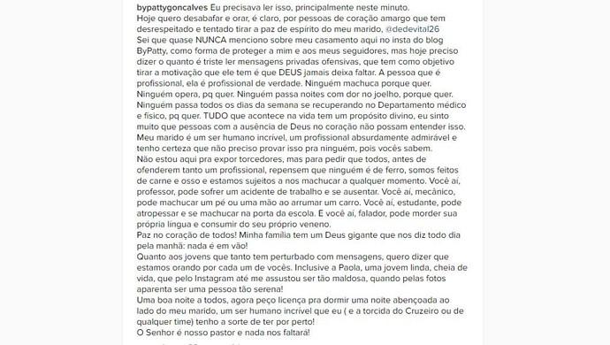 Desabafo da esposa do zagueiro Dedé nas redes sociais (Foto: Reprodução / Internet)
