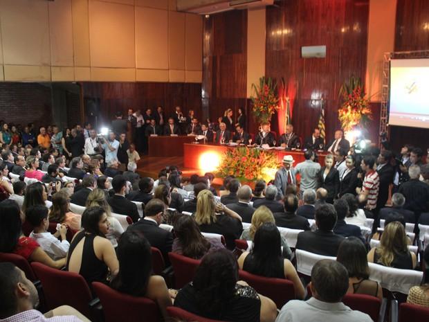 Auditório do Tribunal de Justiça do Piauí ficou lotado  (Foto: Ellyo Teixeira/G1)