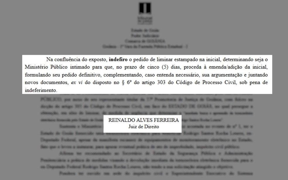 Juiz indeferiu pedido do MP para busca e apreensão da tornozeleira de Rocha Loures (Foto: Reprodução/TJ-GO)