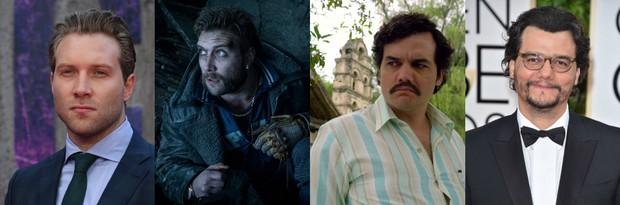 Jai Courtney na premiere do filme e como Capitão Bumerangue / Wagner Moura como Pablo Escobar e em evento (Foto: AFP/ Clay Enos.Warner Bros/ Divulgação.IMDB/ Getty Images)