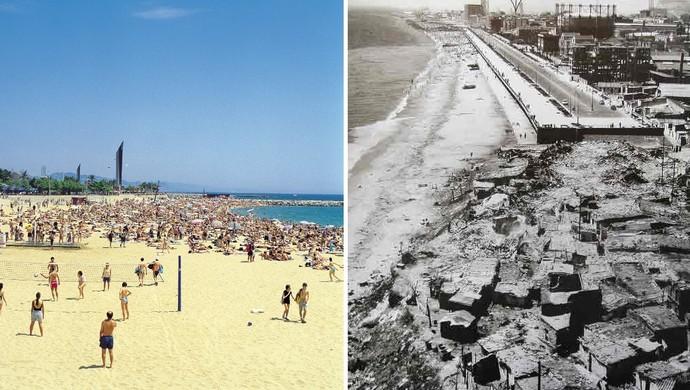 Praia Barcelona antes e depois da Olimpíada de 1992 (Foto: J. Trullàs / Barcelona Turisme e Reprodução Internet)