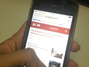 Internet exclusiva por celulares e tablets correspondem a 30,4% no Amapá (Foto: Jéssica Alves/G1)