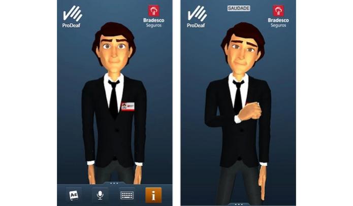 Interface do ProDeaf tem um avatar que mostra a interpretação do português em LIBRAS (Foto: Divulgação) (Foto: Interface do ProDeaf tem um avatar que mostra a interpretação do português em LIBRAS (Foto: Divulgação))