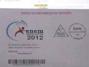 Diego mandou foto de seu cartão de inscrição (Foto: Diego Holanda Oliveira/VC no G1)