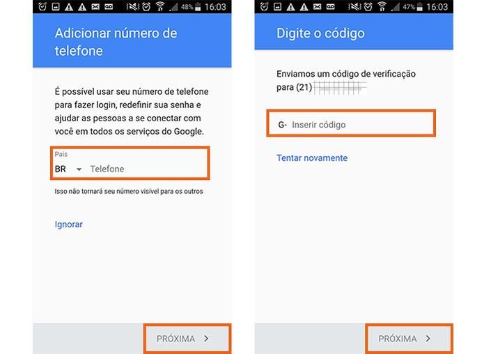 Na conta Google, faça a verificação do celular (Foto: Reprodução/Barbara Mannara)