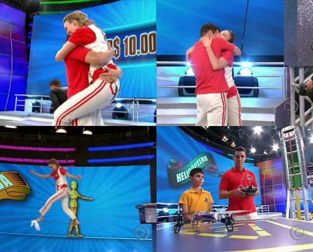 Isabel e Marcelo levaram R$ 25 mil em prêmios no De cara com a fera (Foto: Domingão do Faustão / TV Globo)