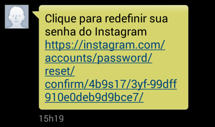 Link de recuperação de senha via SMS (Foto: Reprodução/Lívia Dâmaso)