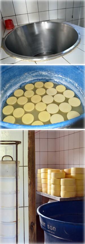 Tacho da fabriqueija (acima), queijos na salmoura (meio) e peças em maturação (abaixo) (Foto: Samantha Silva / G1)