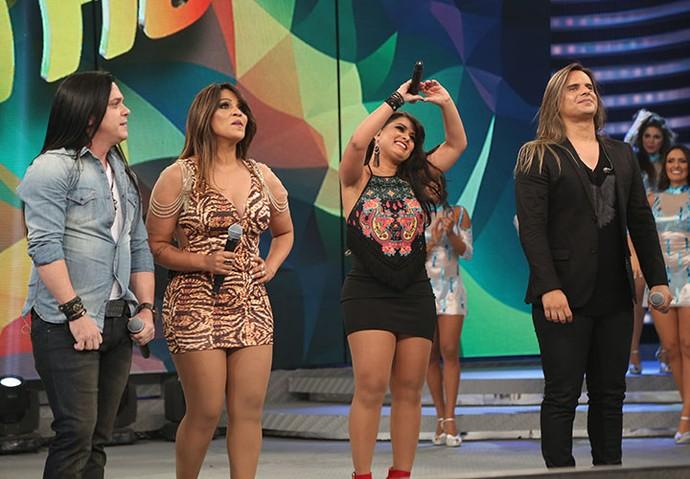 Calcinha Preta marca presença no Domingão (Foto: Carol Caminha/Gshow)