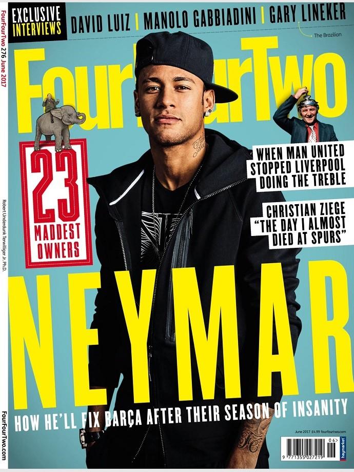 """BLOG: """"FourFourTwo"""" destaca Neymar na capa e cita passagem de bastão de Messi"""