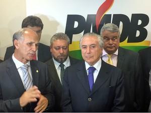 O vice-presidente Michel Temer participou de ato pró-Dilma na Câmara dos Deputados (Foto: Henrique Arcoverde / G1)
