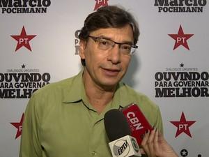 Marcio Pochmann é candidato a prefeito em Campinas pelo PT (Foto: Reprodução / EPTV)