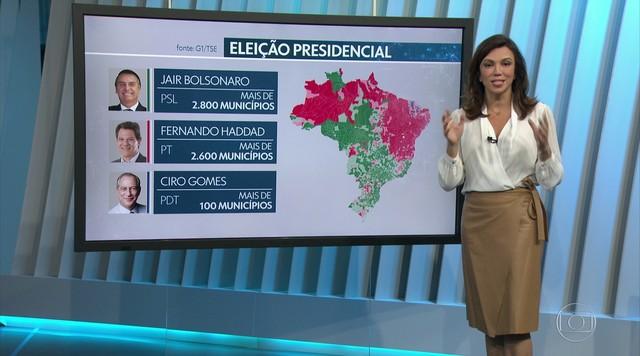 Veja como foi a disputa presidencial por municípios