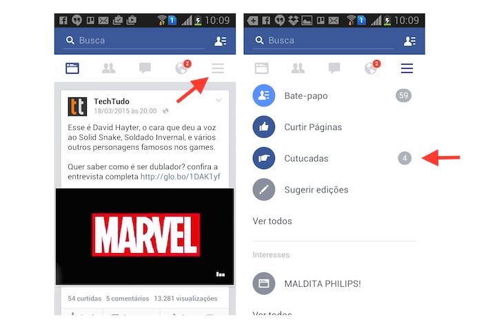 Acessando a página de cutucadas do Facebook pelo Android (Foto: Reprodução/Marvin Costa)