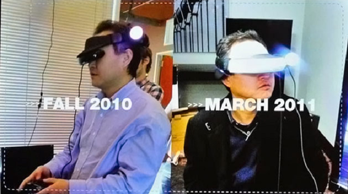 Protótipos do PlayStation VR com executivos da Sony (Foto: Divulgação/Sony)