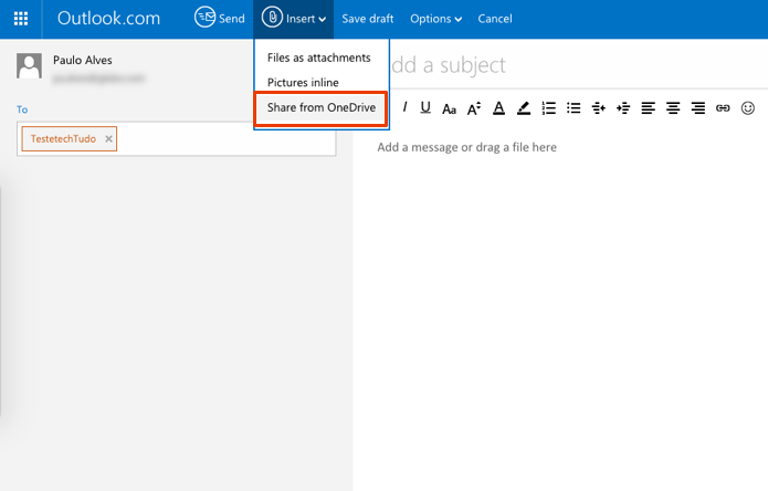 No Outlook, anexar imagens via OneDrive é a melhor opção (Foto: Reprodução/Paulo Alves)