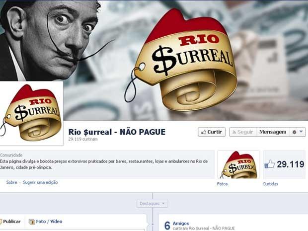 Página criada no Facebook contra preços altos no Rio ganha quase 30 mil seguidores em 6 horas. (Foto: Reprodução/Facebook)