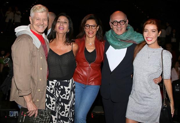 Miguel Falabella, Zizi Possi, Christiane Torloni, José Possi Neto e Luiza Possi (Foto: Thiago Duran/AgNews)