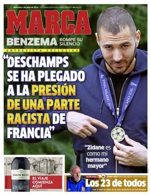 Capa do Marca de quarta-feira destaca entrevista de Benzema (Foto: Reprodução/ Marca)