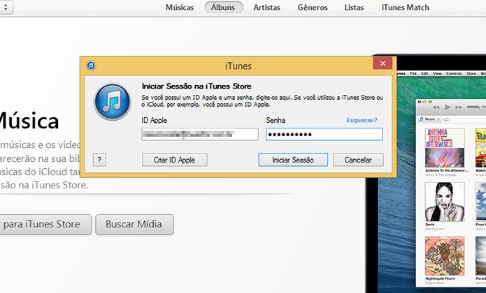 Inserindo a ID da Apple para iniciar a sessão no iTunes (Foto: Reprodução/Marvin Costa)