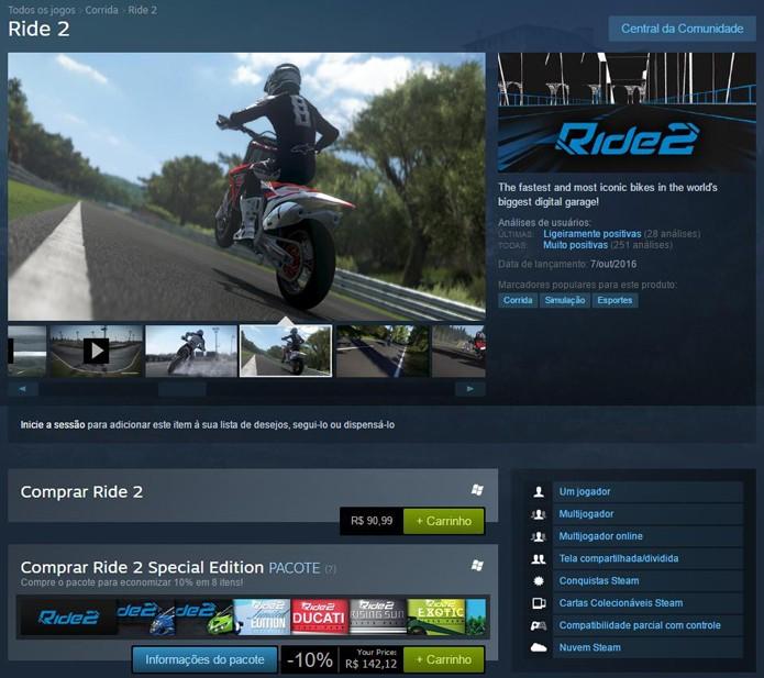 Página de Ride 2 no Steam (Foto: Reprodução/André Mello)