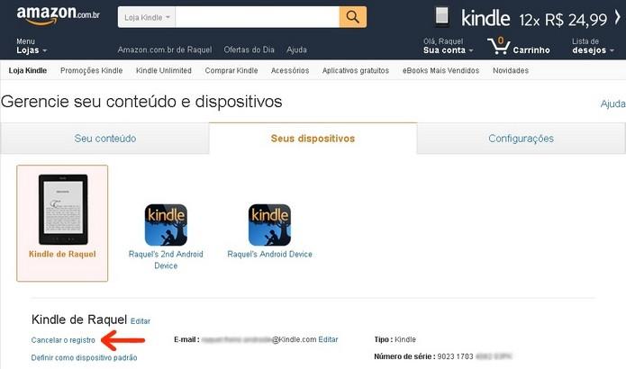 Destaque para link de cancelamento do registro do Kindle (Foto: Reprodução/Raquel Freire)