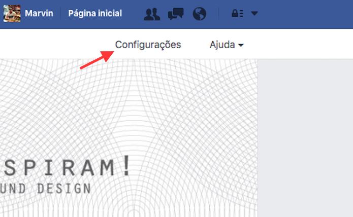 Caminho para acessar as configurações de uma página do Facebook (Foto: Reprodução/Marvin Costa)