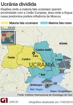Veja no mapa a divisão de interesses entre as regiões da Ucrânia (Foto: Editoria de arte/G1)