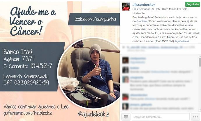 Alisson gremista com câncer Internacional solidariedade (Foto: Reprodução)