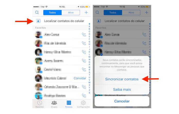 Iniciando a sincronia de contatos do celular com o Facebook Messenger no iPhone (Foto: Reprodução/Marvin Costa)