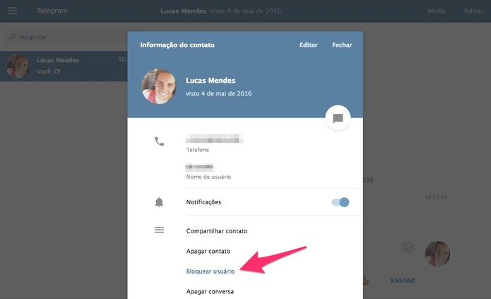 Bloqueio o contato no Telegram (Foto: Reprodução/Lucas Mendes)