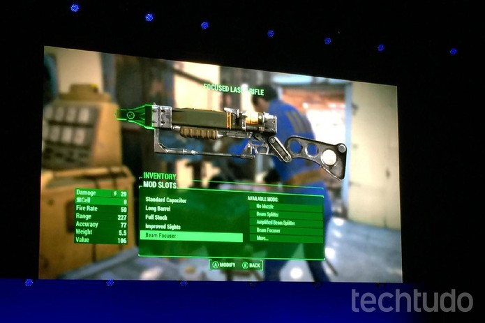 Jogadores podem construir as estruturas e armas utilizando milhares de itens de Fallout 4 (Foto: Viviane Werneck/TechTudo)