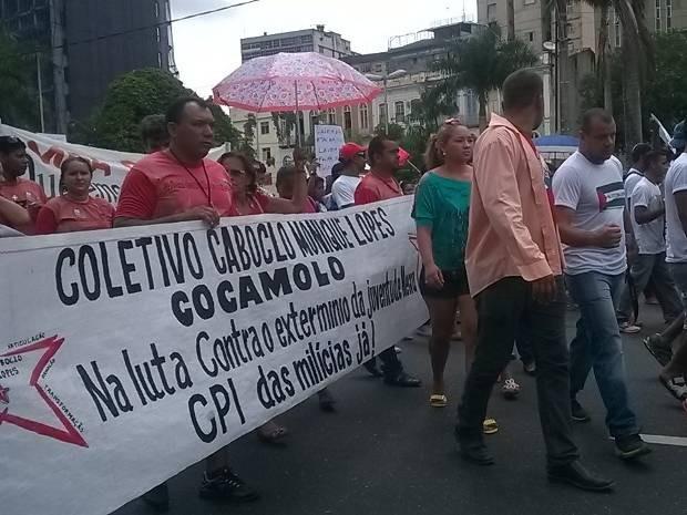Movimentos sociais promovem passeata nesta terça-feira até a Assembleia Legislativa do Pará.  (Foto: Luana Laboissiere/ G1)