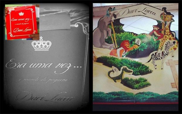 Convite do aniversário de um ano do Davi Lucca (Foto: Editoria de Arte/GloboEsporte.com)