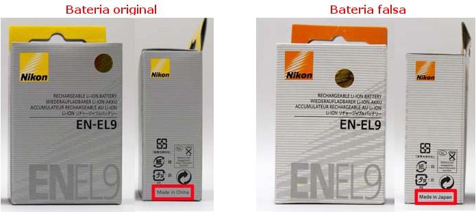 Comparação entre caixas verdadeira e falsa da EN-EL9 (Foto: Divulgação/Nikon)