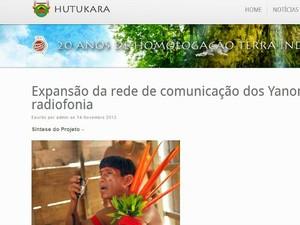 Site da Hutukara Associação Yanomami (Foto: Reprodução)