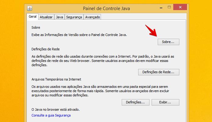 Acessando informações sobre o Java (Foto: Reprodução/Helito Bijora)