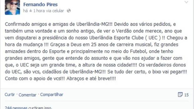 Fernando Pires (Foto: Reprodução/Facebook)