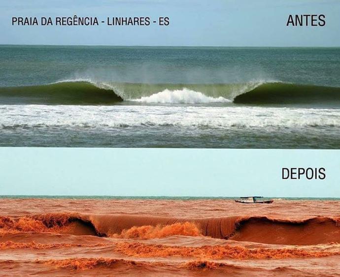 Onda de lama no litoral do Espírito Santo revolta atletas (Foto: Reprodução/Instagram)