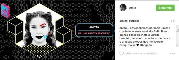 Anitta vence (Foto: reprodução/Instagram)