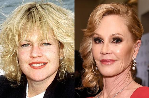 Melanie Griffith em 1990 e em 2016 (Foto: Reprodução e Getty Images)