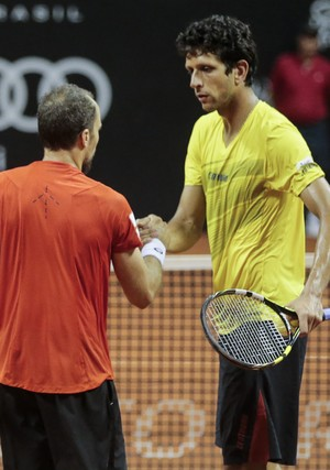 Marcelo Melo e Bruno Soares Brasil Open tênis - eliminação (Foto: Leandro Martins/DGW Comunicação)